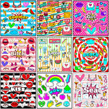 Cute Chic Fashion Summer Patch Badges Sets Stock Images