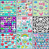 Cute Chic Fashion Summer Patch Badges Sets Royalty Free Stock Image