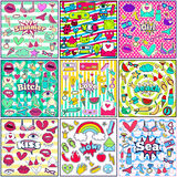 Cute Chic Fashion Summer Patch Badges Sets Royalty Free Stock Images