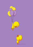 Cute chick with balloons Royalty Free Stock Photos