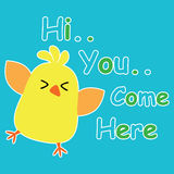 Cute chick on blue background cartoon, children postcard and T-shirt design for kids Stock Images