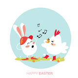 Cute Chick and Bunny singing. Happy Easter Royalty Free Stock Photography