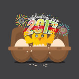 Cute Chick Celebrating 2017 With Colorful Firework. Cute Chick Celebrating 2017 With Colorful Firework Vector Illustration Stock Photography