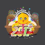 Cute Chick Celebrating 2017 With Colorful Firework. Cute Chick Celebrating 2017 With Colorful Firework Vector Illustration Royalty Free Stock Photos