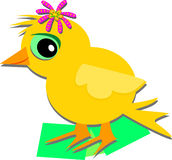 Cute Chick with a Flower Royalty Free Stock Photo