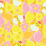 Cute chick, flower, and eggs on striped background  cartoon, Easter seamless pattern, wallpaper, and greeting card Royalty Free Stock Image