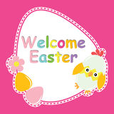 Cute chick, flower, and eggs vector cartoon, Easter postcard, wallpaper, and greeting card Royalty Free Stock Photos