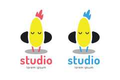 Cute chick silhouette logo icon. Chicken music Stock Photo