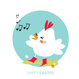 Cute Chick singing. Happy Easter Chicken Stock Photography