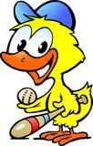 Cute chicken baby with bassball equipment Stock Images