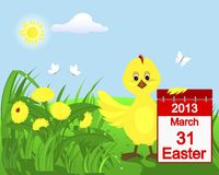Chicken in the grass with yellow dandelions. stock illustration