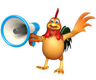 Cute Chicken cartoon character  with loudspeaker Stock Images