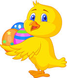 Cute chicken cartoon with easter egg. Illustration of cute chicken cartoon with easter egg Stock Photography