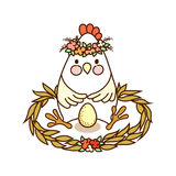 Cute chicken drawing Stock Images