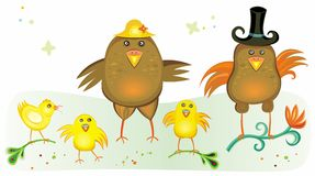Cute chicken family Stock Images