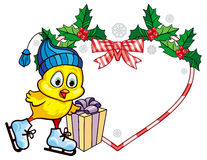 Cute chicken in funny hat ice skating. Christmas holiday heart-shaped frame. Royalty Free Stock Image