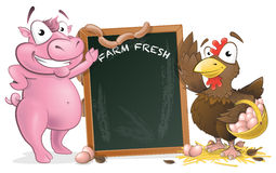 Cute Chicken and Pig with Sign Board. Royalty Free Stock Photo