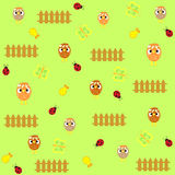 Cute  chicken seamless background pattern in vecto Royalty Free Stock Photography