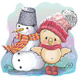 Cute Chicken and snowman Royalty Free Stock Image