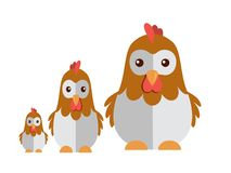 Cute chicken on a white background stock illustration