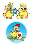 Cute chickens. Three cute chickens - color illustration Stock Image
