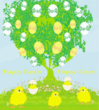 Cute chickens and Easter tree Stock Image