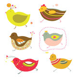 Cute Chicks. Set of six adorable chicks with bright colors and simple shapes Royalty Free Stock Image