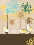 Cute chicks. Eastern background with chicks. Happy birthday greetings card. Baby shower invitation Stock Photo