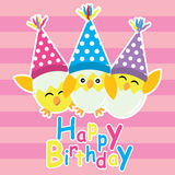 Cute chicks are happy with birthday hat vector cartoon, birthday postcard, wallpaper, and greeting card Stock Photography