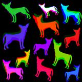 Cute Chihuahua Pattern Print. A fun and colorful seamless design with chihuahua dog silhouettes Royalty Free Illustration