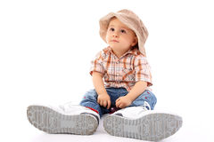 Cute child. Cute funny baby business customer service, isolated Stock Images