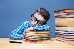 Cute child asleep at the desk in school library Royalty Free Stock Image