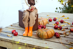 Cute child in autumn Stock Photo