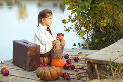 Cute child in autumn Royalty Free Stock Photos