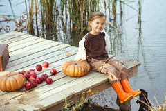 Cute child in autumn Royalty Free Stock Image
