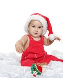 Cute child baby in santa hat Stock Photo