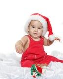 Cute child baby in santa hat Stock Photo
