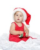 Cute child baby in santa hat Stock Photography