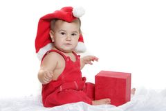 Cute child baby in santa hat Stock Images