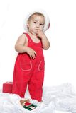 Cute child baby in santa hat Royalty Free Stock Photos