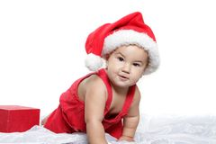 Cute child baby in santa hat Royalty Free Stock Photography