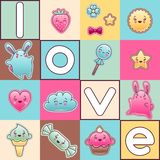 Cute child background with kawaii doodles Royalty Free Stock Image
