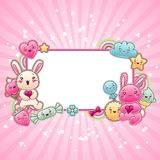 Cute child background with kawaii doodles.  Vector Illustration