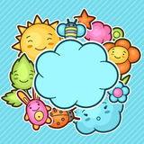 Cute child background with kawaii doodles. Spring collection of cheerful cartoon characters sun, cloud, flower, leaf