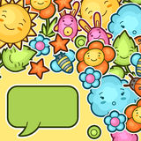 Cute child background with kawaii doodles. Spring collection of cheerful cartoon characters sun, cloud, flower, leaf Stock Image