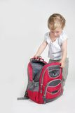 Cute child with backpack Stock Photo