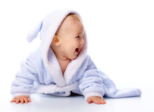 Cute child in bathrobe Royalty Free Stock Photography