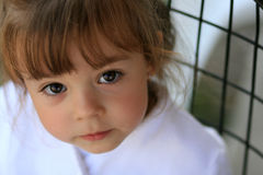 Cute child with big eyes. Young girl with big dark eyes looking up at camera Stock Photos