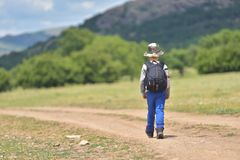 Cute child boy with backpack walking on a little path in mountains. Hiking kid Royalty Free Stock Photo