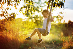 Cute child, boy, having fun on a swing in the backyard. On sunset royalty free stock image